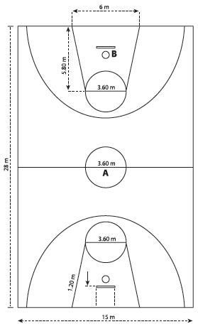 Gambar Dan Ukuran Lapangan Bola Basket Standar Internasional